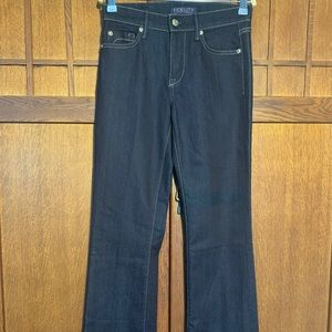 Fidelity mid tone washed boot cut jean.